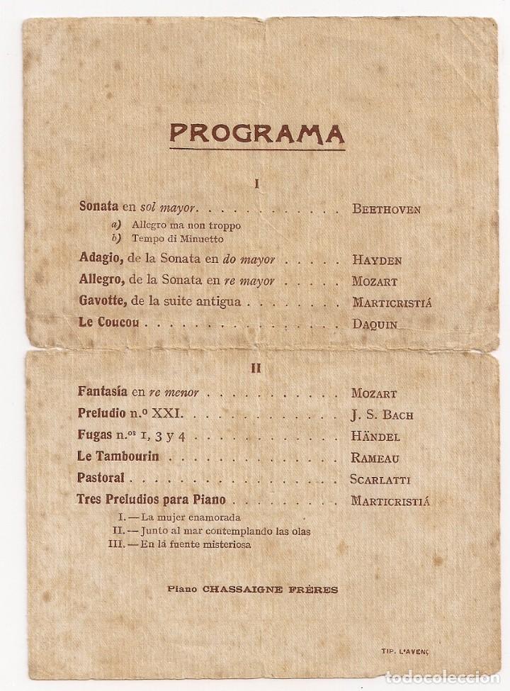Documentos antiguos: Invitación Audición intima de Piano por la pianista TERESA BONICH - AÑO 1913 - Foto 2 - 153524338