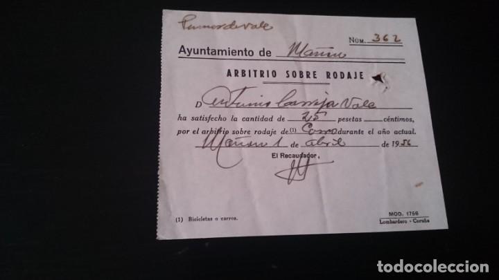 ARBITRIO SOBRE RODAJE AYUNTAMIENTO DE MAÑON CORUÑA 1956 (Coleccionismo - Documentos - Otros documentos)