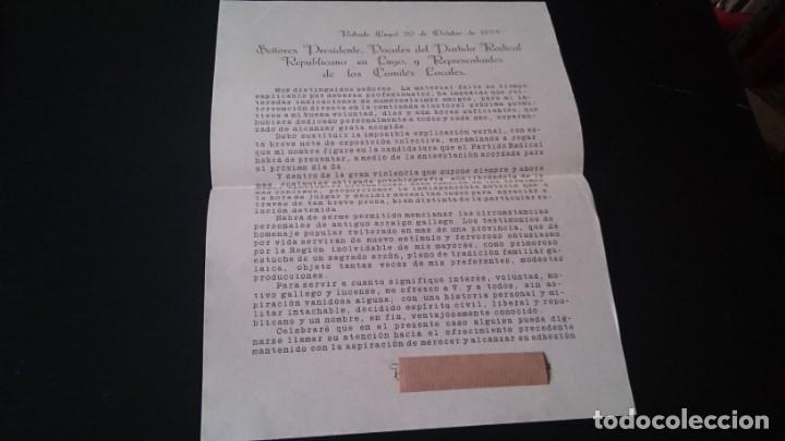 ESCRITO DE CANDIDATURA PARA EL PARTIDO REPUBLICANO RADICAL LUCENSE RABADE OCTUBRE 1933 (Coleccionismo - Documentos - Otros documentos)