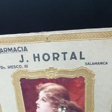 Documentos antiguos: CARTEL PUBLICTARIO DE FARMACIA J HORTAL SALAMANCA. Lote 154699790