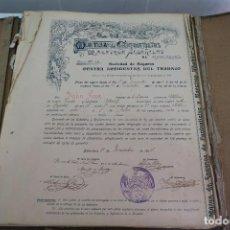Documentos antiguos: CARPETA ANTIGUA POLIZAS DE SEGUROS ACCIDENTES MUTUA CONTRATISTAS Y MAESTROS ALBAÑILES BARCELONA 1904. Lote 154859286
