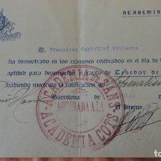 Documentos antiguos: ACADEMIA SANS-COTS.CALIFICACIO.TENEDOR DE LIBROS.FRANCISCO CASTELLVÍ PIULACHS.BARCELONA 1933. Lote 154865734