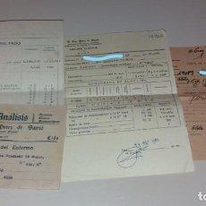 Documentos antiguos: PAPEL ANTIGUO. ANÁLISIS DE SANGRE Y PARTE MÉDICO. ELDA (ALICANTE), 1946, 1947, 1948 Y 1965. Lote 154868638