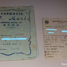 Documentos antiguos: PAPEL ANTIGUO. CAJA NACIONAL SEGURO ENFERMEDAD. CARTIILA, CARNET Y CUBIERTA PUBLICITARIA. ELDA 1944. Lote 154869094