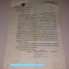 Documentos antiguos: PAPEL ANTIGUO. MULTA POR NO PAGAR CONTRIBUCIÓN TERRITORIAL PROVINCIA ALICANTE, 1943. Lote 154872082