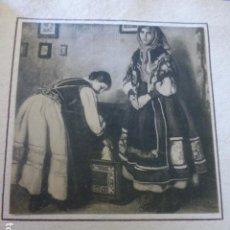 Documentos antiguos: SEGOVIA MUJERES SEGOVIANAS LAMINA HUECOGRABADO MONTADA SOBRE CARTULINA CON EL TEXTO IMPRESO AÑOS 20. Lote 154946358