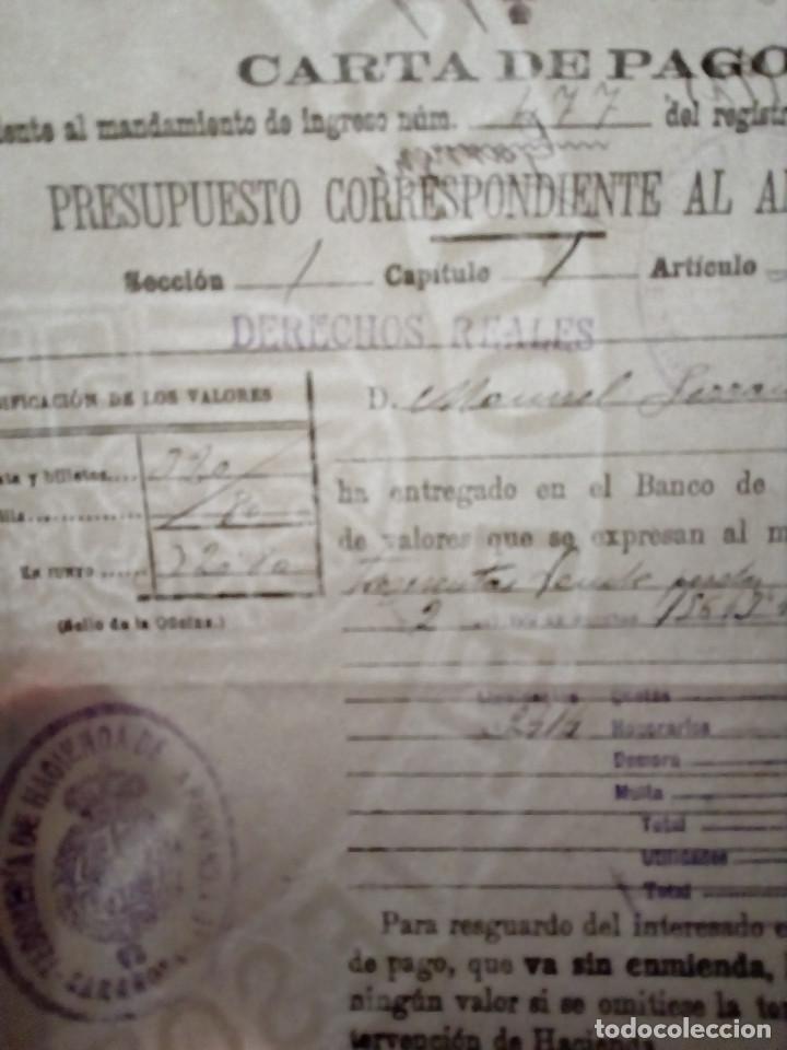 Documentos antiguos: DOS CARTAS DE PAGO ZARAGOZA, DEL PRESUPUESTO CORRESPONDIENTE AL AÑO 1921-22.HACIENDA - Foto 2 - 155400822
