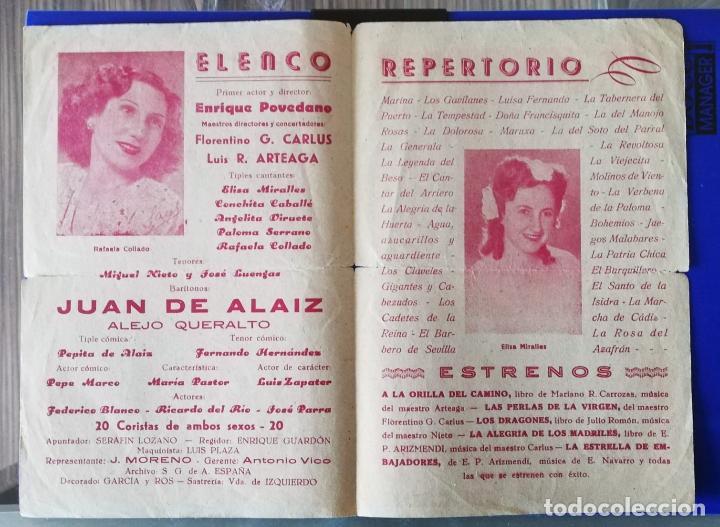 Documentos antiguos: CARTAGENA MURCIA TEATRO CIRCO PROGRAMA MANO JUAN DE ALAIZ ZARZUELA AÑOS 40 - Foto 2 - 155479074
