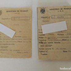 Documentos antiguos: ANTIGUOS CARNETS MINISTERIO DE TRABAJO, SOE. Lote 155522886