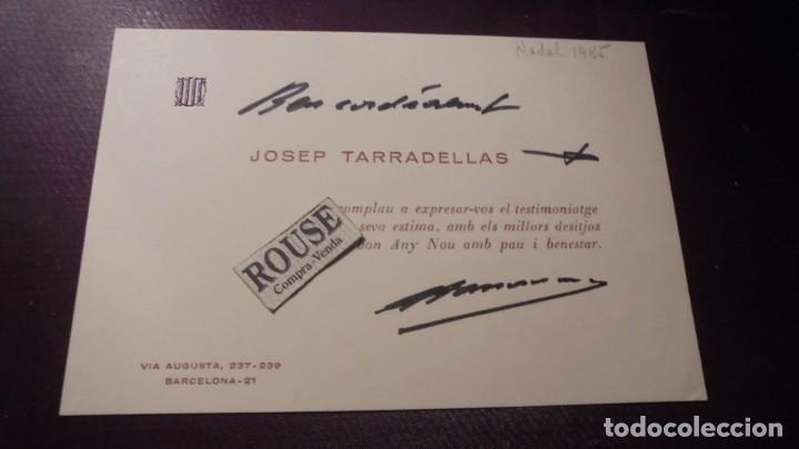 AUTOGRAFOS - JOSEP TARRADELLAS - 1985 . DEDICATORIA Y AUTOGRAFO ORIGINAL A TINTA PRESIDENTE DE LA (Coleccionismo - Documentos - Otros documentos)
