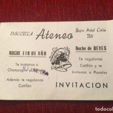 Documentos antiguos: R5708 ENTRADA TICKET DISCO PUB DISCOTECA ATENEO TUY TUI (1-1-1994) NOCHE FIN DE AÑO. Lote 155793734