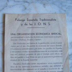 Documentos antiguos: FALANGE ESPAÑOLA TRADICIONALISTA Y DE LAS J.O.N.S. FOLLETO INFORMATIVO.. Lote 155835174