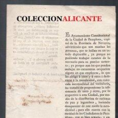 Documentos antiguos: PAMPLONA 1821 - MENDICIDAD - DOCUMENTO IMPRESO ORIGINAL - FIRMAS. Lote 155855202