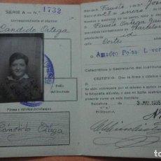 Documentos antiguos: INSTITUTO BALMES.TARJETA IDENTIDAD ESCOLAR.CANDIDO ORTEGA.BARCELONA 1935. Lote 155869626