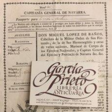 Documenti antichi: CAPITANIA GENERAL DE NAVARRA. PASAPORTE PARA LA VILLA DE ESCALONA. Lote 156208918