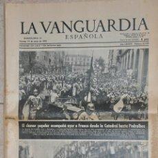 Documentos antiguos: HOJA LA VANGUARDIA 1970, VISITA DE FRANCO EN BARCELONA. Lote 156537766