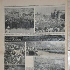 Documentos antiguos: HOJA LA VANGUARDIA 1970, VISITA DE FRANCO EN BARCELONA, VIC, SITGES. Lote 156539202