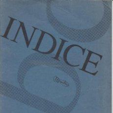 Documentos antiguos: CUADERNO DE INDICE.. Lote 156539782