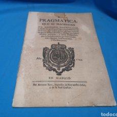 Documentos antiguos: PRAGMÁTICA DEL SIGLO XVIII DE FELIPE V SOBRE LA UTILIZACIÓN D PAPEL SELLADO, 18 PGNS. MADRID 1744. Lote 156562874