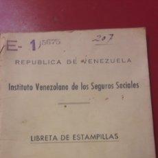 Documentos antiguos: 1958 LIBRETA VENEZUELA SEGUROS SOCIALES ESTAMPILLAS. Lote 156633813