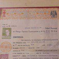 Documentos antiguos: LUGO 1957 CERTIFICADO FALANGE ESPANOLA TRADICIONALISTA Y DE LAS J.O.N.S. ANTECEDENTE POLITICIS SOCIA. Lote 156643884