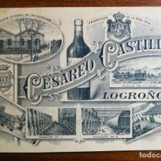 Documentos antiguos: BODEGAS CESAREO CASTILLA ( RIOJA ) - TARJETA DE VISITA - 1898 - LOGROÑO. Lote 156720582