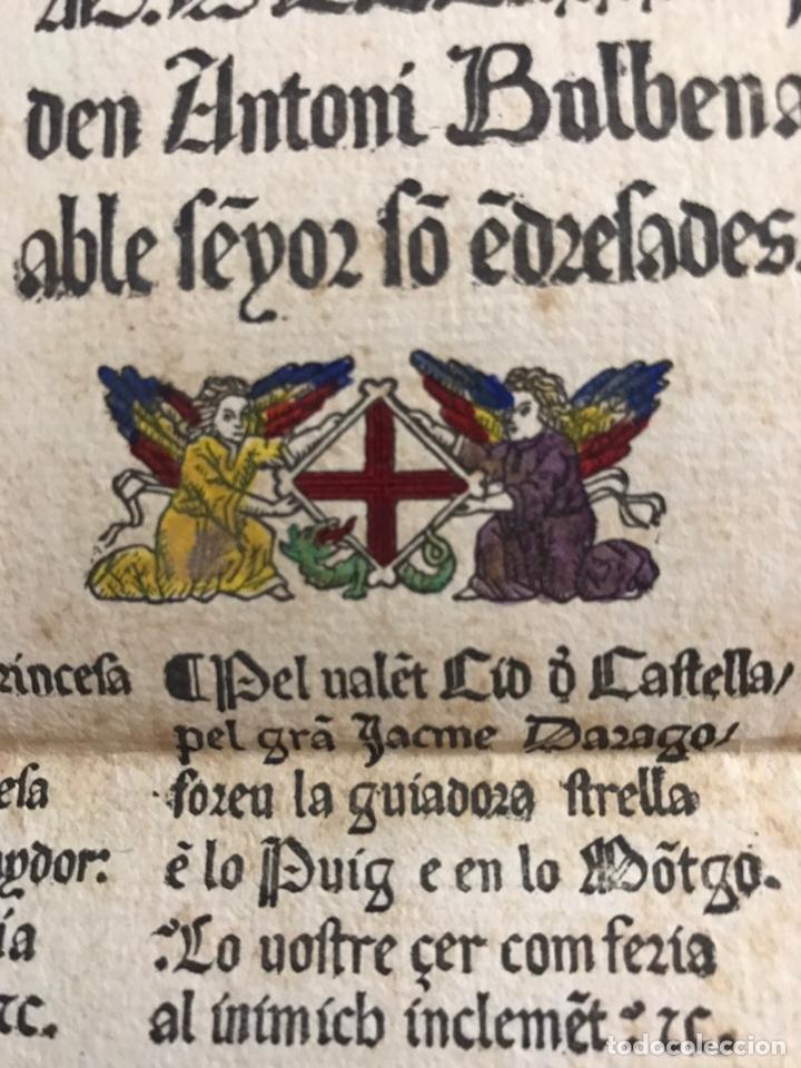 Documentos antiguos: Muy antiguo documento coplas o alabanzas a San Jorge o SantJordi. En letra gótica. Siglo XIX. Raro - Foto 3 - 156738152