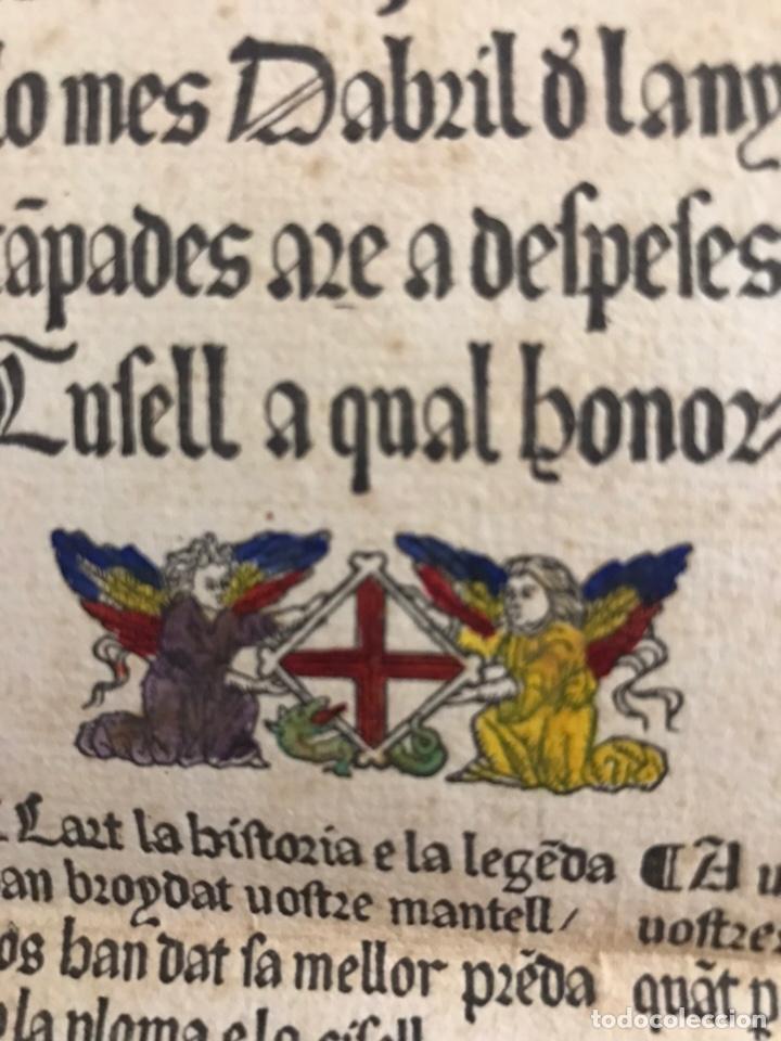 Documentos antiguos: Muy antiguo documento coplas o alabanzas a San Jorge o SantJordi. En letra gótica. Siglo XIX. Raro - Foto 4 - 156738152