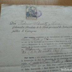 Documentos antiguos: ULLDECONA CURSO ESCOLAR 1912 - NOMBRAMIENTO MAESTRO NACIONAL INTERINO - TITULO. Lote 156773974