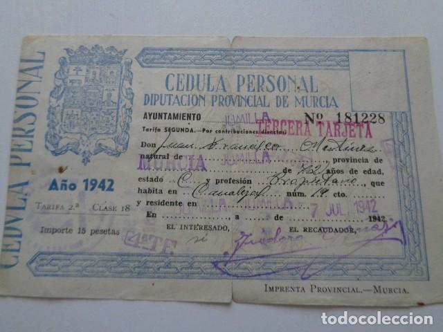 MURCIA. DIPUTACIÓN PROVINCIAL. CÉDULA PERSONAL 1942. JUMILLA, CON VIÑETA. RENOVACIÓN TABACO (Coleccionismo - Documentos - Otros documentos)