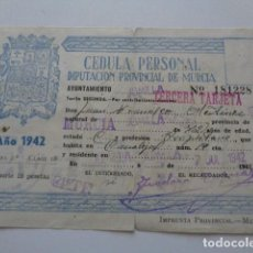 Documentos antiguos: MURCIA. DIPUTACIÓN PROVINCIAL. CÉDULA PERSONAL 1942. JUMILLA, CON VIÑETA. RENOVACIÓN TABACO. Lote 157782774