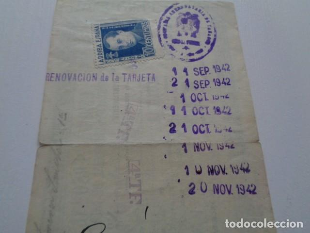 Documentos antiguos: MURCIA. DIPUTACIÓN PROVINCIAL. CÉDULA PERSONAL 1942. JUMILLA, CON VIÑETA. RENOVACIÓN TABACO - Foto 2 - 157782774