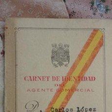 Documentos antiguos: ANTIGUO CARNET IDENTIDAD AGENTE COMERCIAL.CARLOS LOPEZ MONTALVO.SEVILLA 1945.. Lote 158361414