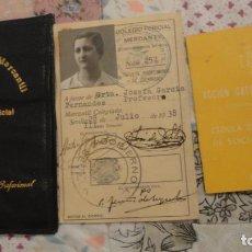 Documentos antiguos: TARJETA IDENTIDAD.COLEGIO PERICIAL MERCANTIL.JOSEFA GARCIA FERNANDEZ.PROFESORA.SEVILLA 1938. Lote 158362794