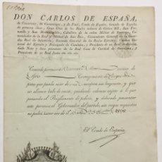 Documentos antiguos: DON CARLOS DE ESPAÑA. CONDE DE ESPAÑA. PERMISO DE ARMAS. 1828. AGE, AJA, PUIGCERDA. COMINGES Y FOIX. Lote 158567294