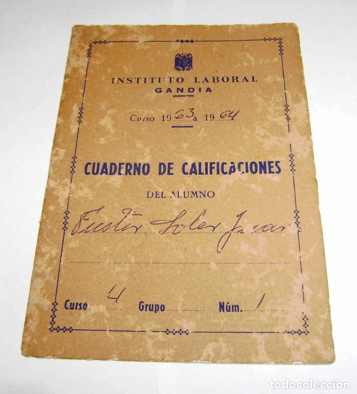 Documentos antiguos: Cuaderno de calificaciones del alumno - instituto laboral de gandia 1963. - Foto 1 - 158759854