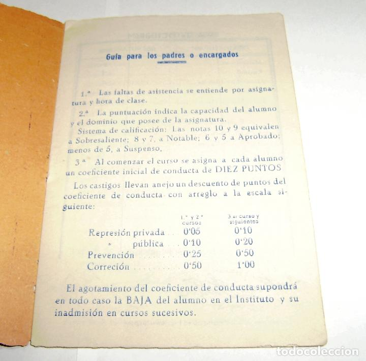 Documentos antiguos: Cuaderno de calificaciones del alumno - instituto laboral de gandia 1963. - Foto 2 - 158759854