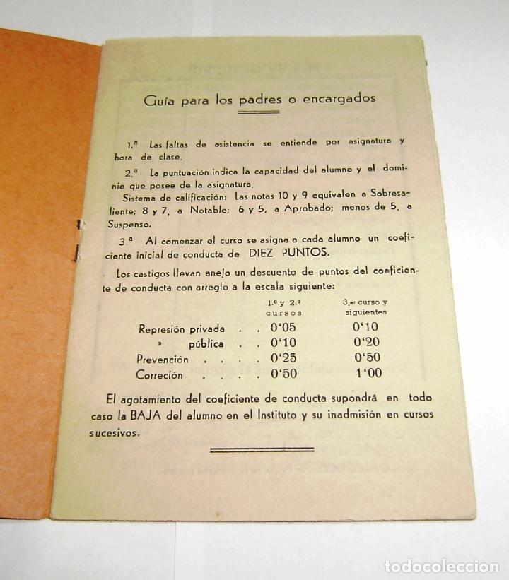 Documentos antiguos: Cuaderno de calificaciones del alumno - instituto laboral de gandia 1961. - Foto 2 - 158759914