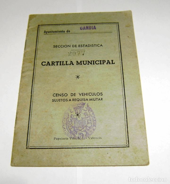CARTILLA MUNICIPAL-CENSO DE VEHICULOS-SUJETOS A REQUISA MILITAR.1959. (Coleccionismo - Documentos - Otros documentos)