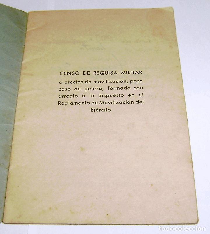 Documentos antiguos: Cartilla Municipal-Censo de Vehiculos-Sujetos a Requisa Militar.1959. - Foto 2 - 158760466