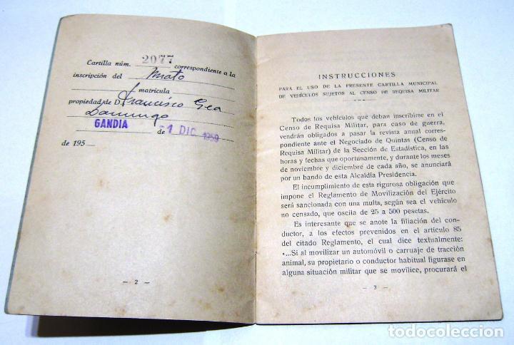 Documentos antiguos: Cartilla Municipal-Censo de Vehiculos-Sujetos a Requisa Militar.1959. - Foto 3 - 158760466