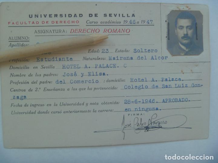 UNIVERSIDAD SEVILLA - FACULTAD DE DERECHO: FICHA DERECHO ROMANO DE MILITAR. CURSO 1946 A 1947 (Coleccionismo - Documentos - Otros documentos)