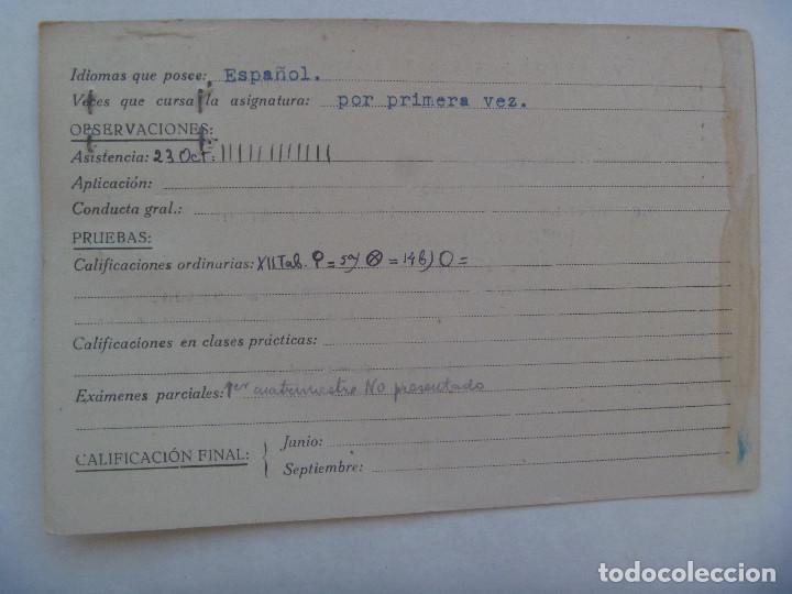 Documentos antiguos: UNIVERSIDAD SEVILLA - FACULTAD DE DERECHO: FICHA DERECHO ROMANO DE MILITAR. CURSO 1946 A 1947 - Foto 2 - 158833230