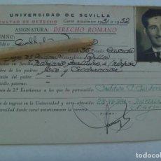Documentos antiguos: UNIVERSIDAD SEVILLA - FACULTAD DE DERECHO: FICHA DERECHO ROMANO. CURSO 1951 A 1952. Lote 158908282