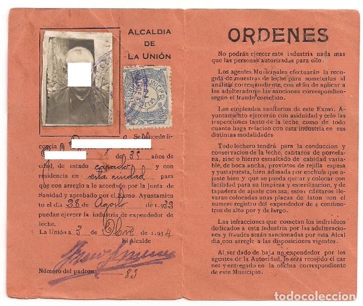 Documentos antiguos: Antiguo carnet de Identificación para la venta de Leche - Alcaldía de La Unión - Año 1934 - Foto 2 - 158948158
