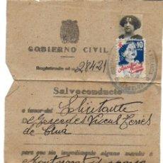 Documentos antiguos: P-9281. DOCUMENTO GOBIERNO CIVIL. SALVOCONDUCTO. AÑO 1940. . Lote 159245986