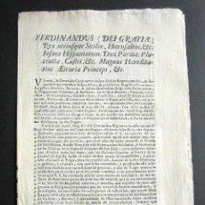 Documentos antiguos: AÑO 1766. SICILIA. ITALIA. CONDE SANTISTEBAN, PERMISO SOLDADOS Y MARINEROS. FERNANDO REVOCA. GALERA. Lote 159255518