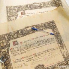 Documentos antiguos: PAREJA DE TITULOS DE BACHILLER DE LA UNIVERSIDAD DE SEVILLA - TÍTULO DE 1929 Y 1934. Lote 159970974