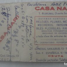 Documentos antiguos: ANTIGUA TARJETA COMERCIAL.CASA NARI.T.RIJHUMAL.JUANITO EL INDIO.JOYERIA-PLATERIA.CEUTA. Lote 160191278