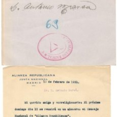 Documentos antiguos: DOCUMENTO ALIANZA REPUBLICANA JUNTA NACIONAL - TARJETÓN PARTIDO REPUBLICANO RADICAL - 1931. Lote 160192822